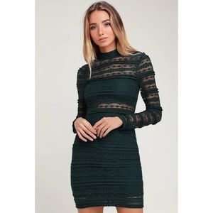 LUSH Reece Forest Green Lace Bodycon Dress